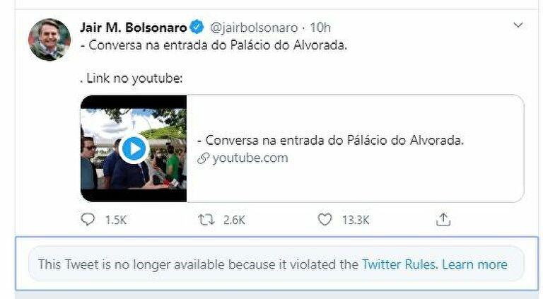 巴西总统发文质疑隔离 推特删帖称其涉嫌发布虚假信息