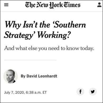 """用力过猛""""南方战略""""失效 特朗普与民众、共和党渐行渐远"""